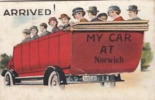 NORWICH( Norfolk) :ARRIVED! My Car at NORWICH- MAIL NOVELTY CARD-boxed1d to Pay