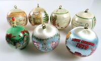 Mixed Lot of 7 Vintage Silk Ball Christmas Ornaments, Hallmark etc., Read
