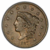 1837 1c Coronet Head Large Cent - High-Grade VF+ Coin - SKU-X1095