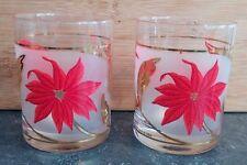 Set of 2 Culver Christmas Poinsettia Double Old Fashion, 14 oz. Beverage Glasses