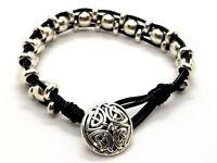 Celtic Bracelet Triple Silver Beads Black Genuine Leather Cord Unisex Bohemian