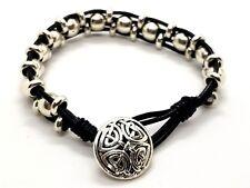 Bracciale Celtico Triplo perline d'argento nero vera pelle corda unisex BOHEMIAN