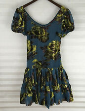 Betsey Johnson Dress Size 0 Teal Floral Tiered See Through Tie Back
