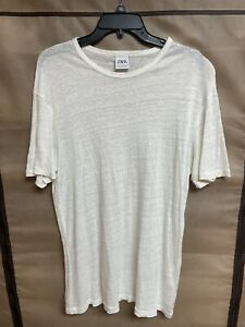 zara mens white linen t shirt large