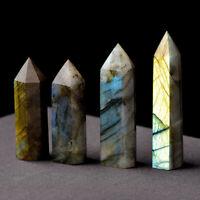 Hot 50-60mm Natural Labradorite Crystal Wand Gemstone Point Healing Quartz Stone