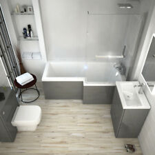 Complete Bathroom Fitted Furniture Patello Bath BTW Suite with Toilet Grey RH