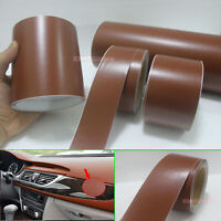 Useful Brown Matte Leather Grain Texture Vinyl Sticker Tape for Car Home Wrap AB
