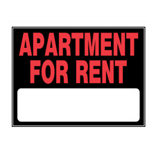 Hillman 842178 Apartment For Rent with Fill In, Plastic Sign 15x19 Inches 1-Pack