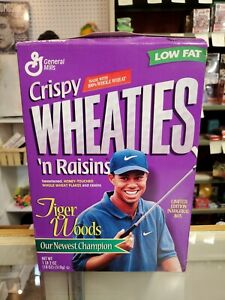 Crispy Wheaties 'N Raisins Tiger Woods Golf Limited Edition Inaugural Cereal Box
