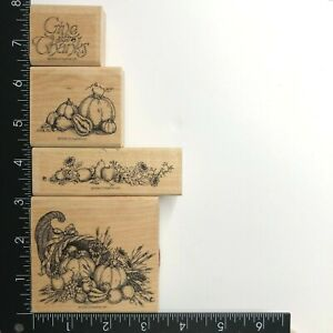 Stampin Up Grand Cornucopia Wood Mounted Rubber Stamps Set of 4 Fall Harvest