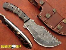 "HUNTERSGRIP 10"" CUSTOM DAMASCUS STEEL TRACKER KNIFE HG-K10756"