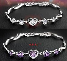 "8"" Silver Clear Purple Crystal Amethyst Heart Link Bracelet Chain Gift Box B15"