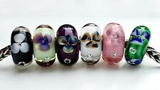 TROLLBEADS COMPLETE SET OF 6 FLOWERS WITH DIAMONDS