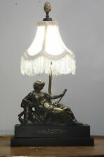 Antique Vintage Figural Table Lamp With Fancy Shade French Metal