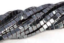 "4MM Black Hematite Cube Grade AAA Natural Gemstone Loose Beads 15.5"""