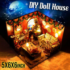 3d DIY Miniature Wooden Doll House LED Light Mini Dollhouse Kit With Furniture
