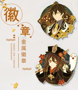 Genshin Impact Zhongli Hutao Eula Metal Badge Brooch Pin Collection Gift