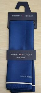 "💪Navy Blue Silk Pocket Square13.5""x13.5🌊 Designer Macy's Tommy Hilfiger Men's"