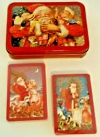 Vintage Playing Cards, 2 decks sealed and in collector's tin SANTA