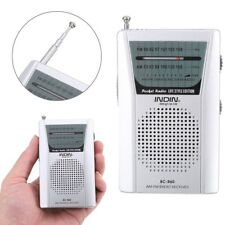 Mini Portable Pocket AM/FM Battery Powered Silver AM/FM Radio w 3.5mm Audio Jack