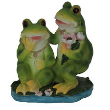 Frog Couple With Lotus Flowers Statue 21cm Figurine Sculpture Ornament  Garden