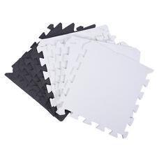 10X Eva Foam Puzzle Exercise Mat Interlocking Floor Tiles -- White and Blac Y6G3