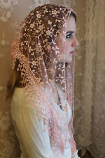NEW Classic Mantilla Light Pink Embroidered Chapel Veil Triangle