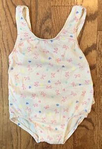 Vtg Healthtex Baby Girl One Piece Swimsuit Pink Polka Dots Bows Ruffle Size 24m