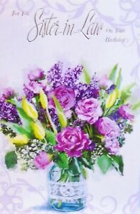 SISTER IN LAW BIRTHDAY CARD ~ Traditional Classy Flower Display In Vase
