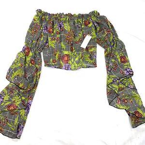 Womens Top Jr Medium Floral Off Shoulder NEW Chiffon Shirt Blouse Flounce Sleeve