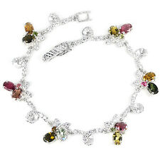 NATURAL AAA MULTI COLOR TOURMALINE & WHITE CZ .925 STERLING SILVER BRACELET 7 IN