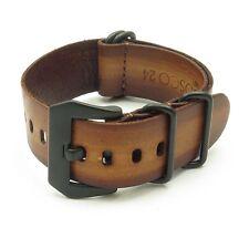 StrapsCo Vintage Leather Men's Watch Band Strap with Black PRE-V Buckle