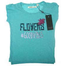 """Niñas Camiseta """"goodvibes"""" manga corta azul flores inscripción EMOI 104"""