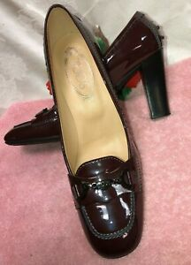 TOD.S Made in Italy Women Burgundy Patent leather heel Shoes. US SZ-8.5M. EUR-39