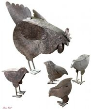 Hen Sculpture Garden Large Chicks Rustic Finished Metal Outdoor Verdugo Gift New