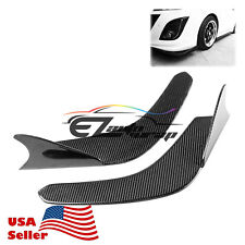 Shark Fin Style Real Carbon Fiber Front Bumper Lip Kit Diffuser Canard Splitter