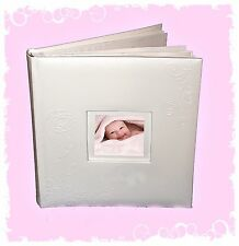 "Baby Girl White Real Leather Photograph Album For 6×4"" / 10cm x 15cm photos"