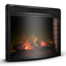 "28"" Electric Firebox Fireplace Heater Insert Curve Glass Panel w/ Remote, Black"