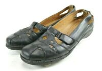 Clarks Unstructured $90 Women's Mary Jane Flat Shoes Size 11 Leather Black