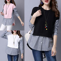 Women Lady Fashion Casual Cotton Long Sleeve Striped Loose Shirt Blouse Tops tb