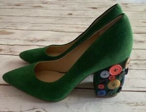 KATY PERRY ANJELICA PUMPS HEELS GREEN GRASS SUEDE BUTTONS SIZE 6.5