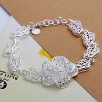 Flowers Bracelet Sterling 925 Solid Silver Free Shipping Wholesale DAH244+box