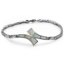 White Fire Opal Greek Key Design .925 Sterling Silver Bracelet
