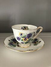 Queen Anne Vintage Tea Cup And Saucer - Country Gardens Pattern - England