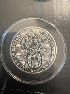 2017 Queens Beast, Griffin of Edward 2 oz Silver Coin 2nd in series In Capsule