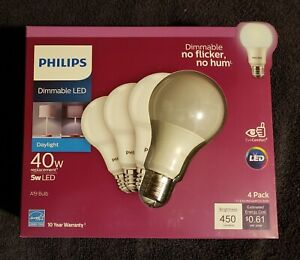 4 Pack Philips 549766 A-Line A19 LED Bulbs Frosted 40W Equivalent 450 Lumens L