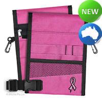 Nursing Pouch-13 Pocket Double Sided, Belt, Embroidery, Nurse -Pink -Pink Ribbon