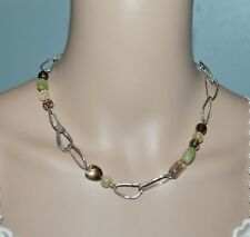 Silpada N1218 Green Jade Smoky Quartz Citrine Silver Hammered Link Necklace
