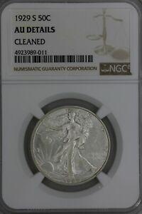 1929-S .50  NGC AU DETAILS CLEANED   Walking Liberty, Lady Liberty Half,