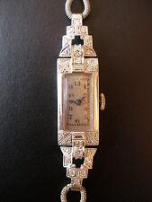 LADYS PLATINUM & WHITE GOLD DIAMOND SET ART DECO WRIST WATCH CIRCA 1930